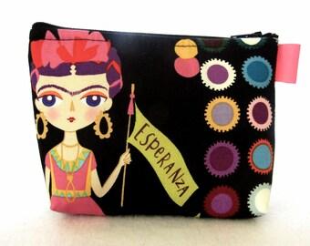 Artist Frida Kahlo Cosmetic Bag Fabric Zipper Pouch Makeup Bag Alexander Henry Fabric Gadget Pouch Self Portrait Black Colorful Esperanza