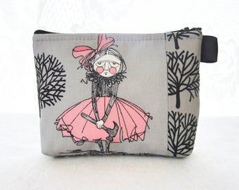 The Ghastlies Hammer Girl Halloween Fabric Cosmetic Bag Makeup Bag Zipper Pouch Alexander Henry Smoke Gray Ghastly Cordelia Ghastlie TGS