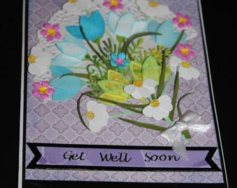 Get Well Soon flower bouquet handmade 3D blank card