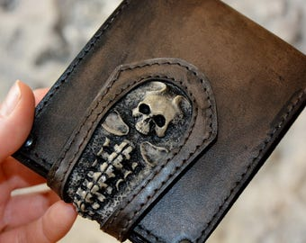 SKULL Leather wallet Husband gift Mens gift idea Handmade leather wallet Boyfriend birthday Mens leather wallet Husband birthday gift Skulls