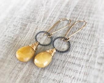 Yellow Earrings, Gold Earrings, Sterling Silver Earrings, Silverite Earrings, Yellow Jewelry, Gift for Women, Bridal Jewelry