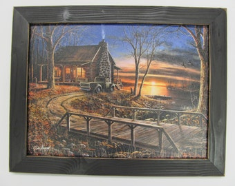 "Jim Hansel, Hunting Lodge,Cabin,Handmade Distressed Frame,Bridge181/2""x141/2"""