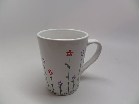 Hand Painted Ceramic Mug for Spring with Pink and Purple Flowers  Great Gift for Spring