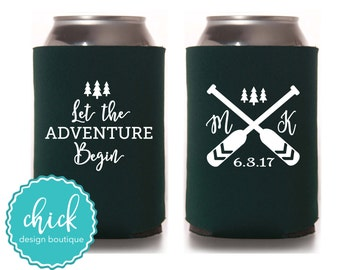 Let the Adventure Begin, Oars, Initials, Date - Custom Can Cooler Personalized Wedding Favor Party Gift Anniversary Favor Shower Favor 2D389