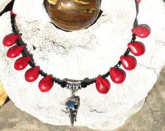 Morrigan Raven Skull Necklace~Black and Red~Crystal~Dark Goddess~Ritual Jewelry