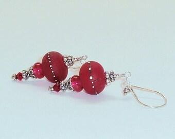 Lampwork Beads Earring,Sterling silver,Christmas Jewelry,Frosted Red Lampwork Earrings,Beadwork Earrings,Glass Earrings