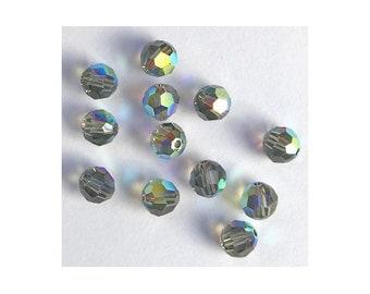 4mm Black Diamond AB Swarovski Round Beads - (22)