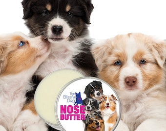 Australian Shepherd ORIGINAL NOSE BUTTER® All Natural Balm for Dry Cracked Dog Noses 8 oz Tin Your Choice of Aussie Labels in Gift Bag