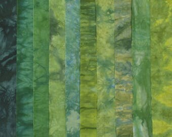 Hand Dyed Fabric - AUTUMN GREENS Stash Pack - 10 Fat Eights