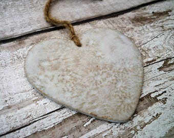 FREE SHIPPING- Loveheart Hanger, lovehearts, gift idea, pottery, one off hand made pottery, wedding, birthday, valentines day, christmas, Mo