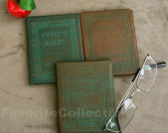 Little Leather Library Shakespeare Julius Caesar Twelfth Night Comedy of Errors Antique 20s Redcroft Green Covers Set E FavoriteCollectibles