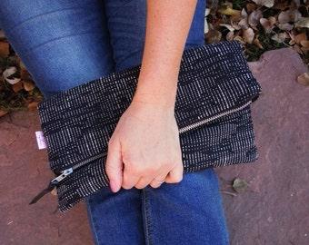 Large foldover, Clutch Purse, Zipper Clutch, Polks Dots Purse, Gadget Case, Everyday Clutch Bag, Cosmetics Case, Makeup Bag, Foldover Purse
