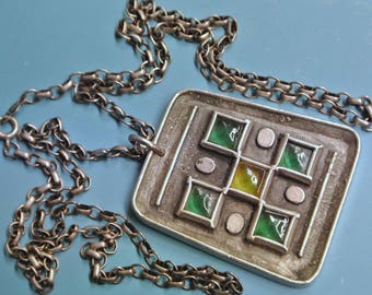 Signed vintage 1960s swedish handcrafted signed rectangular pewter pendant necklace with 5 green/ light yellow square glass centerpieces