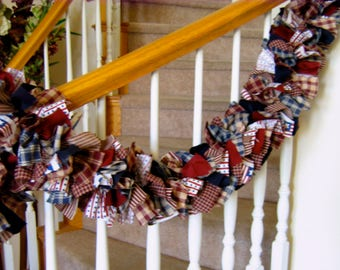 7 ft Americana Garland,Fabric garland,Country garland,Party Decoration,Rag Garland,4th of July Decoration,Americana Fabric Garland,Americana