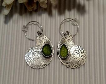 Bright Green Sea Glass Silver Nautilus Dangle Earrings