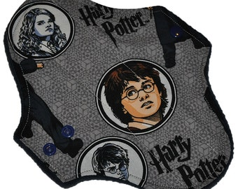 Moderate Hemp Core- Harry Potter Reusable Cloth Pantyliner Pad- Windpro Fleece- 8.5 Inches