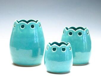 Lacy Aqua Green Medium Vase / Ceramic Vessel