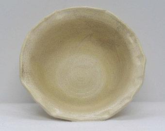 Matte Ivory Oatmeal Glazed Altered Edge Bowl