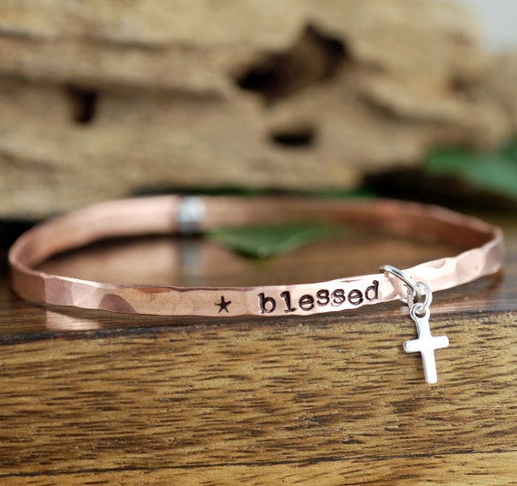 Blessed Bangle Bracelet, Mantra Bracelets, Christian Bracelet, Motivational Bracelet, Personalized Bracelet, Mothers Day Gift