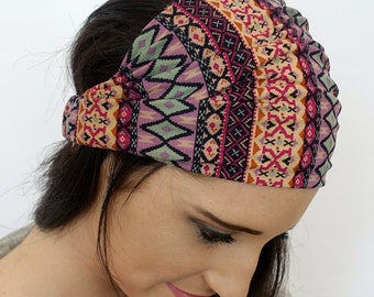 Aztec Tribal Wide Head Wrap Rose Tan Mint Green Micro Suede Wide Headband Bohemian Hair Wrap Womens Hair Accessories
