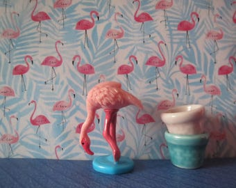 1/12 Scale Downloadable Printable Dollhouse Pink Rosy Flamingo Wallpaper