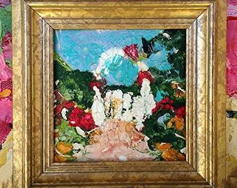 Miniature Impressionist Painting 4x4 GARDEN ARBOR Roses LANDSCAPE Lynne French Framed Art