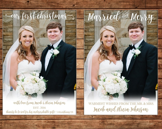 Christmas Holiday Photo Card First Christmas Married Merry - Can Personalize - Printable File or Printed Cards