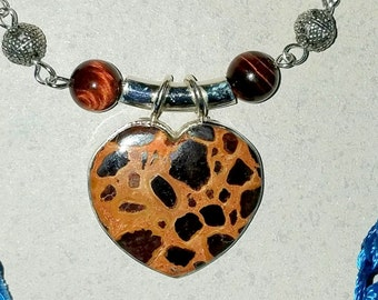 Stromatolite Pendant with Tigers Eye Necklace