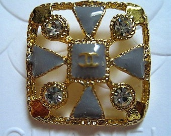 One (1) Chanel Gray Enamel Gold Color Square Metal Button, 23mm