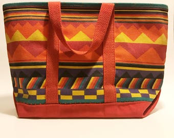 Vintage 80s Gometric Medium Canvas Tote