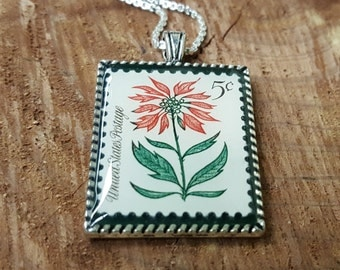 Vintage Christmas Stamp Necklace - Christmas Jewelry - Christmas Poinsettia Necklace - 1964 Postage Stamp Necklace - Christmas Flower