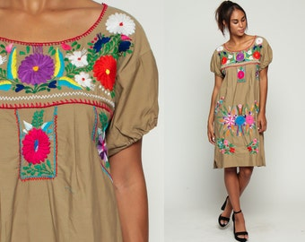 MEXICAN Embroidered Dress Midi PUFF SLEEVE Boho Cotton Tunic 70s Hippie Floral Ethnic Tan 80s Bohemian Vintage Brown Small Medium