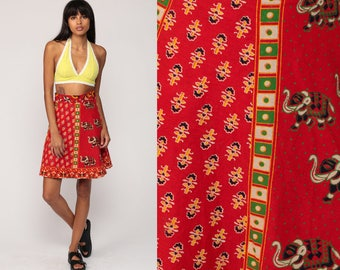 Wrap Skirt Boho Hippie ELEPHANT Mini Indian Cotton Animal Print 90s Bohemian Festival Red Ethnic Vintage Small Medium Large xs