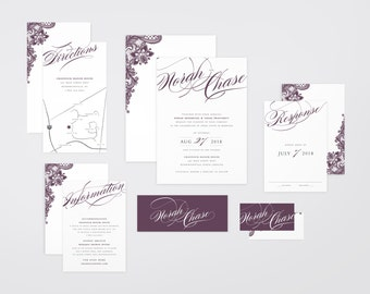 The 'Isabella' Romantic Calligraphy & Lace Wedding Invitation Suite (Printable PDFs)