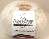 Cascade, Superwash, Wool, Worsted, Eggshell White, 871