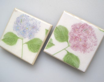 Hydrangea.  2 pc. Ceramic Tile Magnet Set. Each 2 1/2 inches square. Office & Home Decor.