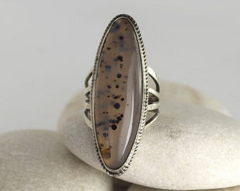 Vintage agate ring in sterling silver in size almost 6