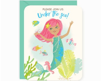 PARTY INVITATIONS Mermaid, pre-printed, fill in, girl party, ocean theme party