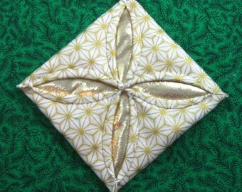 White and  Gold Cathedral Window Quilted Christmas Ornament 406