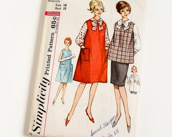 42f9385688c Vintage 1960s Womens Maternity Size 10 Skirt Blouse Top and Jumper or Dress  Simplicity Sewing Pattern 4641 Complete   bust 31
