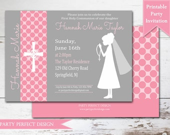 Gray and Pink and Purple Polka Dot First Communion invitation Announcement - Print Your Own