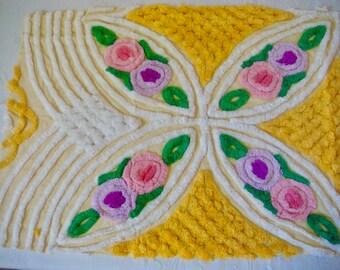 Gorgeous Floral Plush Vintage Cotton Chenille Bedspread Fabric 19 x 26 Inches