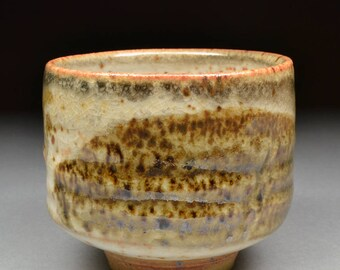 Twice fired Handmade Stoneware Yunomi Tea Cup glazed with Alberta Slip and Carbon Trap Shino