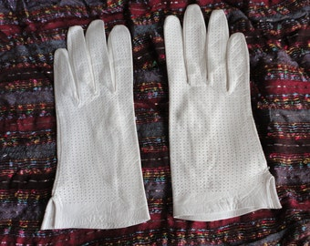 70s Off white kid leather  6 3/4 Women Gloves