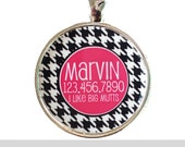Houndstooth Personalized Dog ID Pet Tag Custom Pet Tag You Choose Tag Size & Colors- More Colors Available
