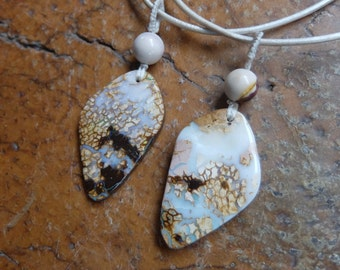 Two Boulder Opal pendant necklace - couple, siblings, soul mate, best friends jewelry  - handmade by NaturesArtMelbourne
