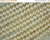 "SALE Cream White Pearls Almost Round Drilled Potato 6mm - 7mm - 15.5 "" Strand (4231)"