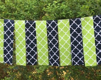 Free USA Shipping/3 foot Navy Blue n Chartreuse Green Fabric Banner Garland/Alligator Navy and Green Fabric Garland/Golf High Chair Banner