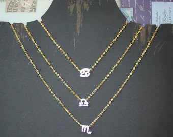 Zodiac Silver Plated Charm on a 24K Gold Plated 18 Inch Chain