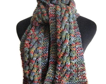 Navy Knit Scarf, Multicolor Cable and Lace Scarf, Knitwear,The Stef Scarf, Mens Knit Scarf, Vegan Knits, Knit Accessories